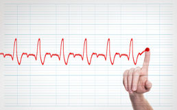 Male Doctor Hand Writing Virtual Cardiogram. Over Background Royalty Free Stock Photography