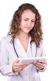 Of male doctor hands holding tablet pc Royalty Free Stock Image