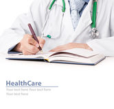 Male doctor hands making notes in office Royalty Free Stock Photography