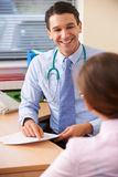 Male Doctor Having Discussion With Female Patient In Office Royalty Free Stock Photos