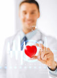 Male doctor with heart and cardiogram Stock Photos