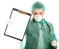 Male doctor holding blank clipboard Stock Image