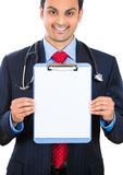 Male doctor holding a clipboard Stock Photography