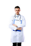 Male doctor holding empty clipboard Stock Photos