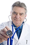 Male Doctor Holding a Stethoscope Stock Images