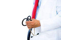 Male doctor holding a stethoscope bringing bad news patient Royalty Free Stock Images