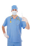 Male doctor holding a syringe in his hand. Young male doctor with syringe in his hand, isolated on white Stock Image