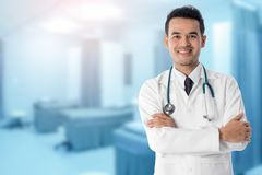 Male Doctor in the Hospital. Or Office. Concept Of Medical Technology and Healthcare Business Royalty Free Stock Photos