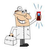 Male doctor in a hurry to call Royalty Free Stock Image