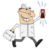 Male doctor in a hurry to call Royalty Free Stock Photo