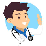 Male Doctor Icon doing Ok Hand Sign. Vector Illustration of Male Doctor Icon doing Ok Hand Sign Royalty Free Stock Photo