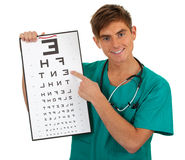Male doctor keeping optometry chart Stock Photos