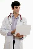 Male Doctor with Laptop Computer Royalty Free Stock Photography