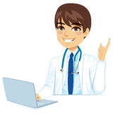 Male Doctor With Laptop Stock Images