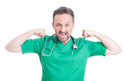 Male doctor looking powerful Royalty Free Stock Photos