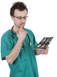 Male doctor looking at tomography brain Stock Photos