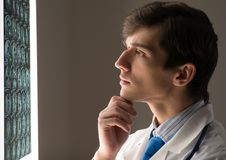 Male doctor looking at the x-ray image Stock Photos