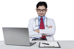 Male doctor looks confident Stock Image