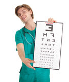 Male doctor with optometry chart Stock Image