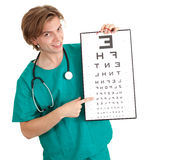 Male doctor with optometry chart Stock Images