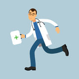 Male doctor paramedic character running with first aid box, medical care  Illustration. On a light blue background Stock Images