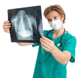 Male doctor reading x-ray chest, lungs Stock Image