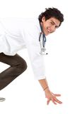 Male doctor ready to race Royalty Free Stock Photos