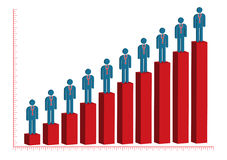 Male Doctor Rise Bar Chart royalty free illustration