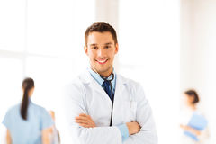 Male doctor with stethoscope Stock Photos