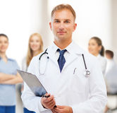 Male doctor with stethoscope and clipboard Stock Photos