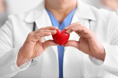 Male doctor with stethoscope holding heart. Closeup stock photos