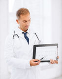 Male doctor with stethoscope showing cardiogram Royalty Free Stock Photography