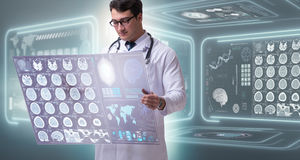 The male doctor studying results of brain mri scan Royalty Free Stock Images