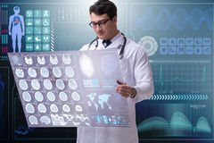 The male doctor studying results of brain mri scan. Male doctor studying results of brain mri scan vector illustration