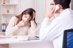 The male doctor talking to patient with nose operation surgery. Male doctor talking to patient with nose operation surgery royalty free stock photography