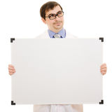Male doctor with a white board. On a white background Stock Photo