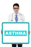 Male doctor with word of asthma Royalty Free Stock Photos