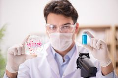 The male doctor working in the lab on virus vaccine. Male doctor working in the lab on virus vaccine Royalty Free Stock Images