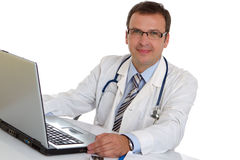 Male doctor write medical reports Stock Photo