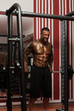 Male Doing Trapezius Exercises In The Gym Stock Photography