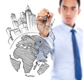 Male drawing city development concept Stock Image