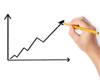 Male drawing a graph Royalty Free Stock Photos