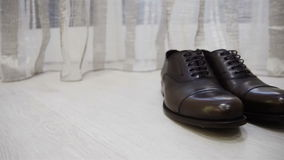Male dress brown shoes elegance slider close up stock footage