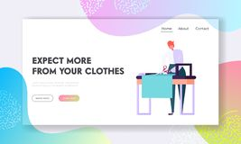 Male Dressmaker Making Out Clothes on Table, Clothing Designer or Tailor Working at Atelier, Young Man Sewer or Garment Designer. Website Landing Page, Web Page stock illustration