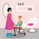 Male dressmaker serving his client vector illustration,. Colorful design element for poster or banner Royalty Free Stock Photos