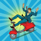 Male driver accident on the scooter Royalty Free Stock Photography