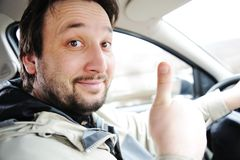 Male driver in car Stock Image