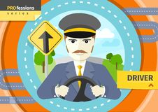 Male driver in uniform and cap behind the wheel Royalty Free Stock Photo