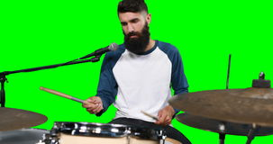 Male drumer playing drum stock video