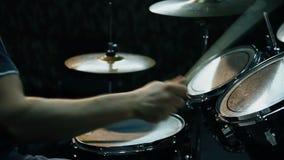 Male Drummer Playing Drums. In Dark Room stock video footage